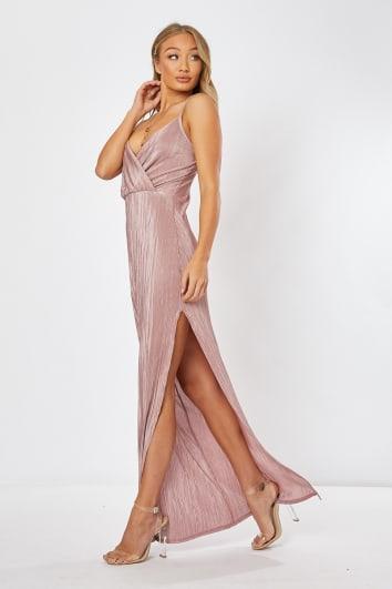 blush plisse strappy maxi dress