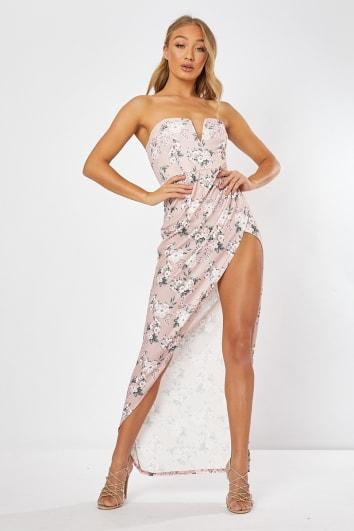 pink floral split front maxi dress