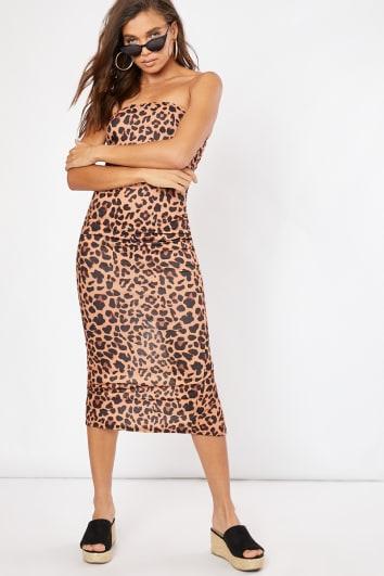 leopard print bandeau midaxi dress