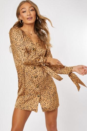 camel satin polka dot horn button tie sleeve mini dress