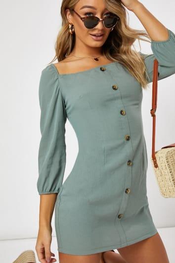 sage square neck mini dress