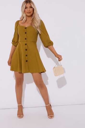 khaki horn button puff sleeve skater dress