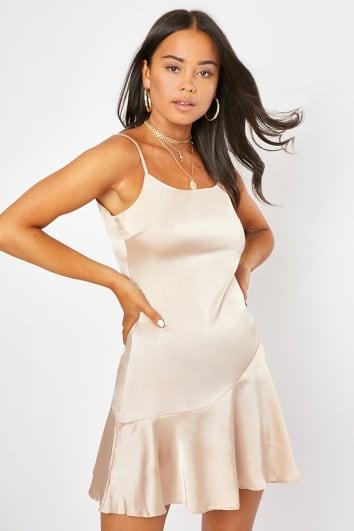 nude satin flippy mini dress