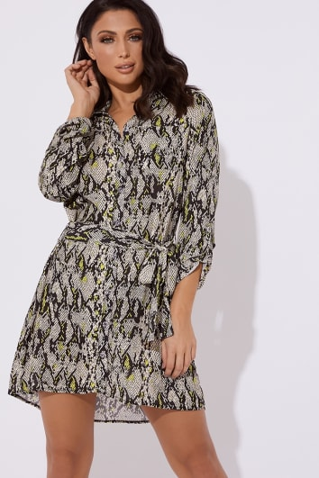 grey and lime snake print tie shirt dress