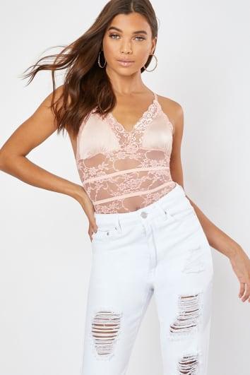 pink satin bra lace bodysuit