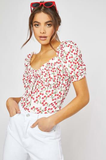 cherry print puff sleeve top