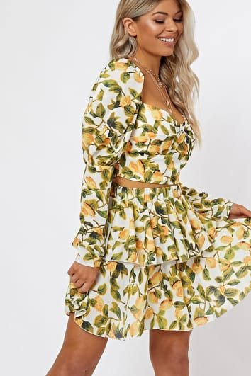 white lemon print tiered mini skirt co-ord