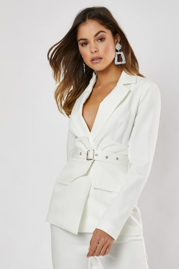 white corset detail belted co-ord blazer