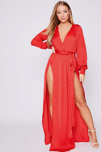 BILLIE FAIERS RED WRAP SIDE SPLIT MAXI DRESS