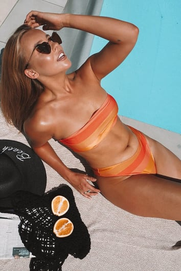CHESSIE KING ORANGE STRIPE THONG BIKINI BOTTOMS