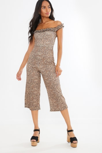 leopard frill bardot culotte jumpsuit