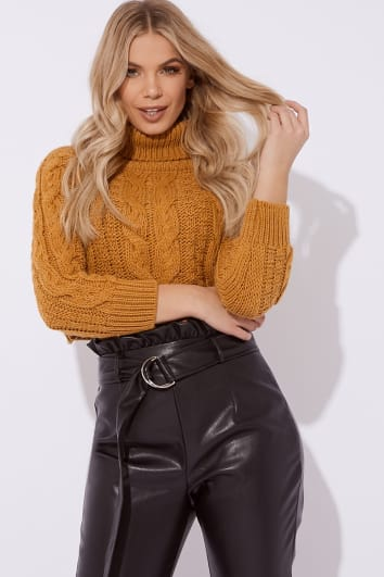 mustard roll neck cable knit cropped jumper
