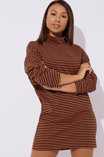 rust stripe slouchy high neck mini dress