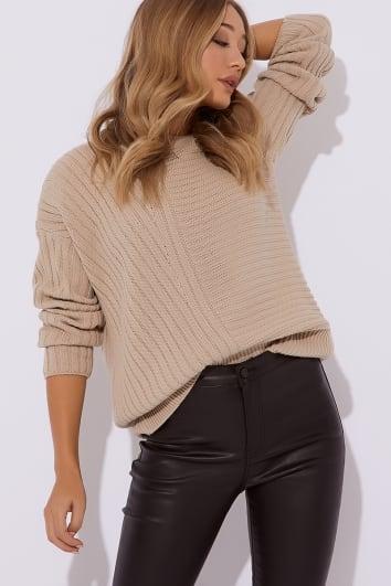 camel asymmetric rib knitted jumper