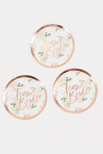 GINGER RAY TEAM BRIDE FLORAL PAPER PLATES 8 PACK
