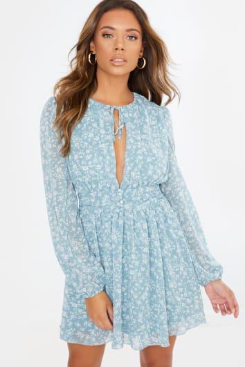 blue floral button detail mini dress