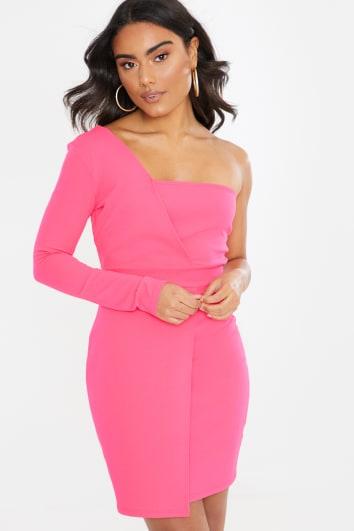 pink crepe asymmetric one sleeve mini dress