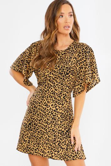 open back a line leopard mini dress
