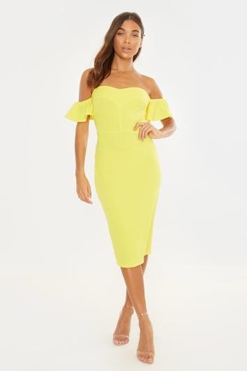 yellow frill sleeve bardot bodycon mini dress
