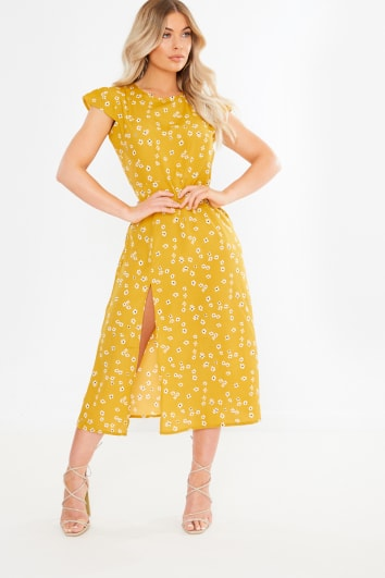 yellow floral split front midi dress