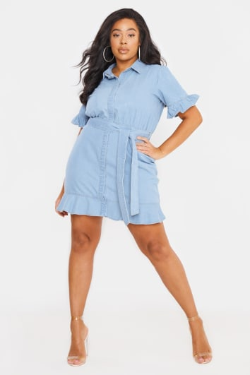 CURVE BILLIE FAIERS BLUE DENIM FRILL MINI DRESS