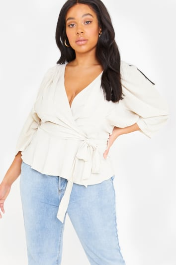 CURVE LORNA LUXE 'COSETTE' CREAM PLEATED SHOULDER WRAP TOP