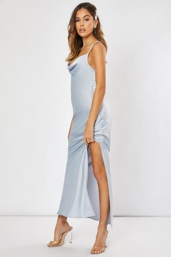 blue satin cowl neck cross back maxi dress