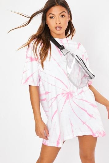 white pink tie dye t shirt dress