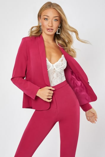 raspberry tailored co-ord blazer
