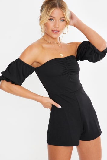 black bardot puff sleeve ruched front playsuit