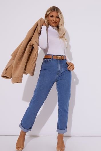 blue oversized mom jeans