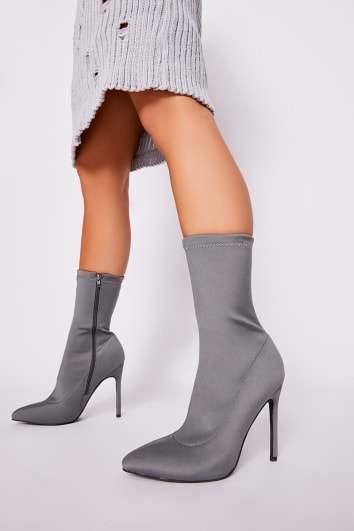 grey lycra sock heeled boots