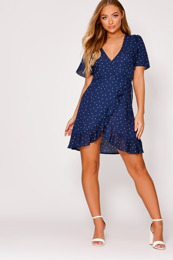 BILLIE FAIERS NAVY POLKA DOT WRAP FRONT MINI DRESS