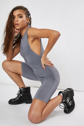grey zip front side boob unitard