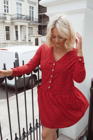 EMILY ATACK RED FLORAL BUTTON FRONT SMOCK DRESS