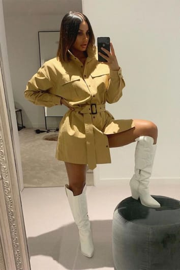LAILA LOVES CAMEL BELTED OVERSIZED UTILITY DRESS