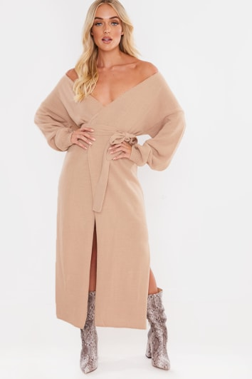 LAILA LOVES CAMEL OFF SHOULDER SIDE SPLIT MIDI CARDIGAN DRESS
