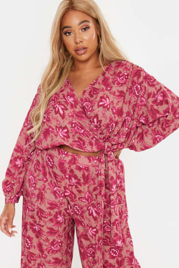 CURVE LAILA LOVES PINK FLORAL TIE SIDE WRAP TOP