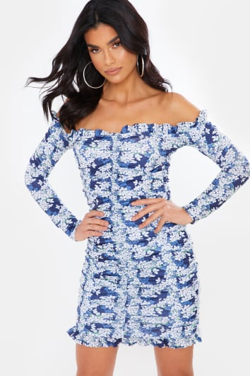 NAVY FLORAL RUCHED BARDOT DRESS