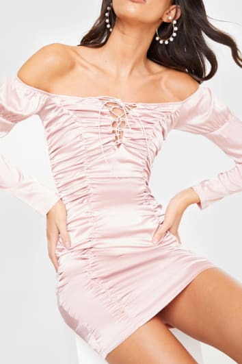PINK SATIN BARDOT RUCHED LACE UP MINI DRESS