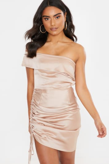 NUDE SATIN RUCHED BARDOT MINI DRESS