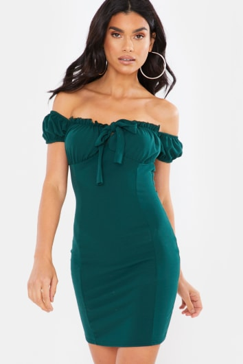 GREEN TIE FRONT MILKMAID MINI DRESS