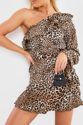 BROWN LEOPARD ONE SHOULDER FRILL MINI DRESS
