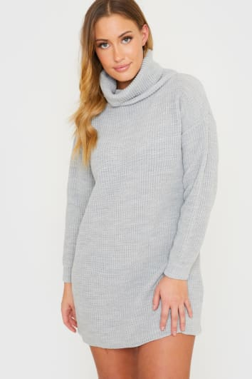 GREY MARL ROLL NECK SLOUCHY MINI DRESS