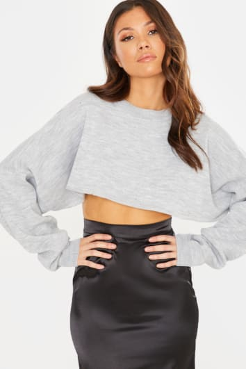 GREY KNITTED OVERSIZED CROPPED JUMPER