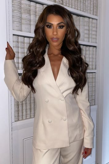 CREAM DOUBLE BREASTED TAILORED BLAZER
