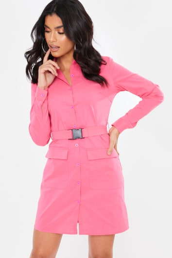PINK BUCKLE BELT UTILITY DRESS
