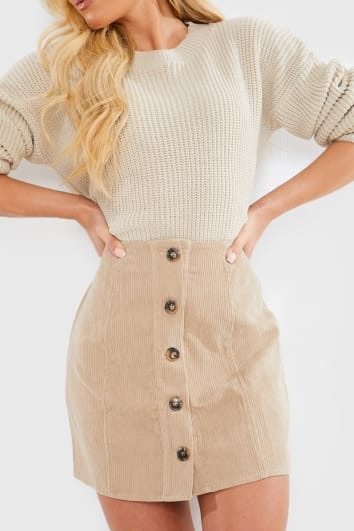 STONE CORD HORN BUTTON DOWN MINI SKIRT