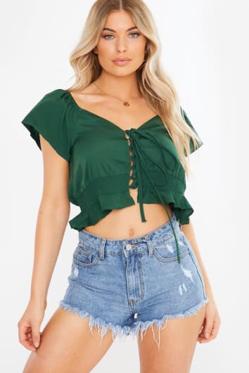 green lace up shirred waist milkmaid top