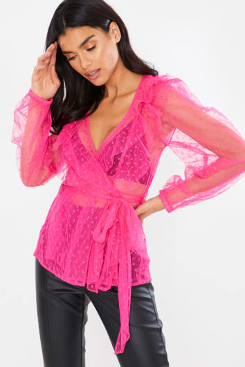 PINK DOBBY MESH LONG SLEEVE TIE FRONT BLOUSE